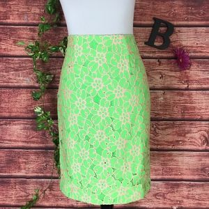 Lilly Pulitzer Skirt 8 Green Pink Hyacinth Lace